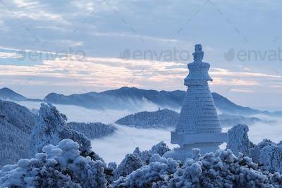 beautiful winter scenery of lushan mountain