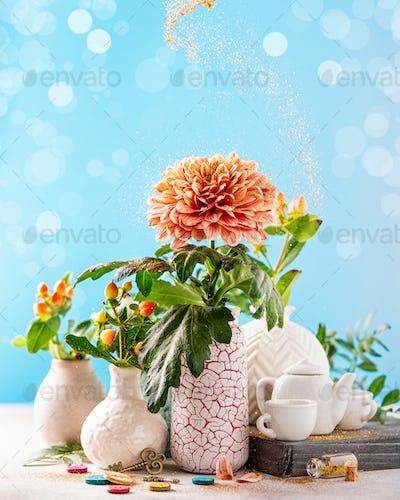 Vase with beautiful chrysanthemum flowers on light table