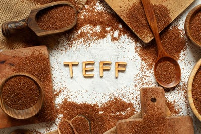 Raw teff grain with word TEFF