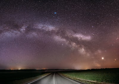 Magenta Night Starry Sky Above Country Asphalt Road In Countrysi