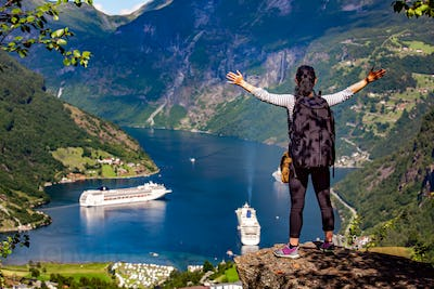 Geiranger Fjord Beautiful Nature Norway.