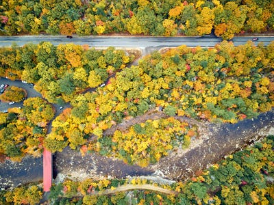 Scenic highway at autumn in New Hampshire, USA
