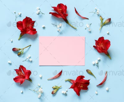 Placeit – Flowers on a light blue background
