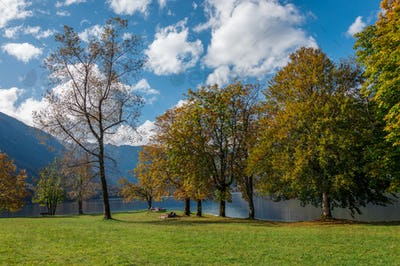 Beautiful autumn scenery at lake Bohinj.
