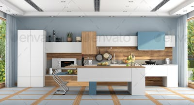 White and blue modern kitchen