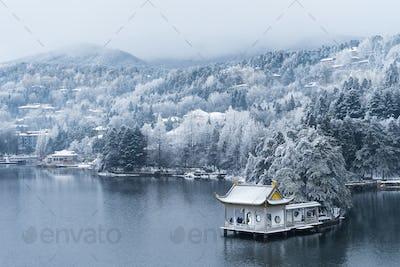 beautiful winter landscape on lushan mountain