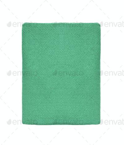 green blanket in white background
