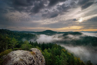 Sunrise in Bohemian Switzerland, Czech republic
