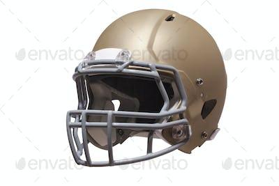 Modern gold football helmet isolated on white background