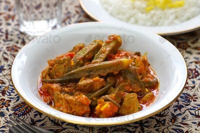khoresh bamieh, iranian okra stew