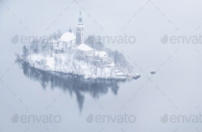 Lake Bled on a beautiful winter and snowy day
