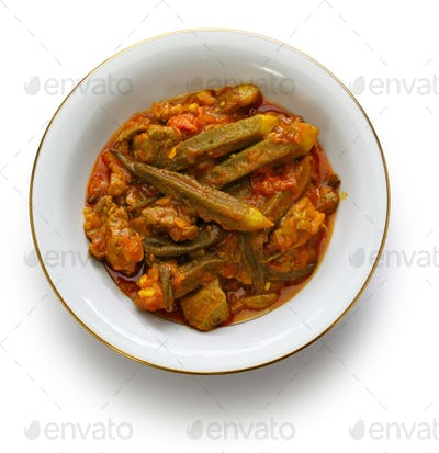 khoresh bamieh, iranian okra stew isolated on white background