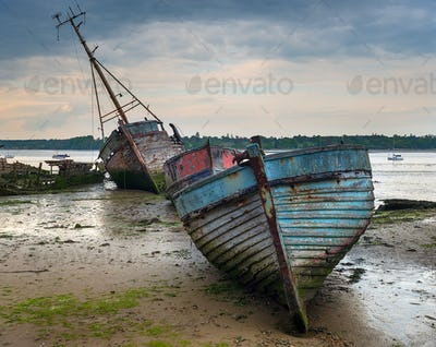 A Boat Graveyard on the River Orwell in Suffolk