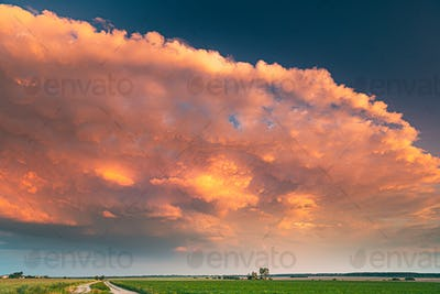 Dramatic Colorful Sky During Approaches Spring Storm Above Lands