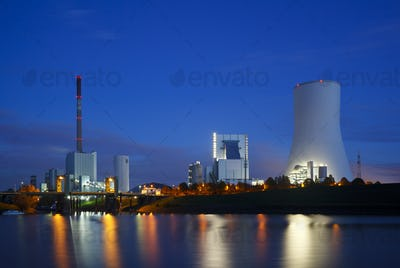 Two Power Stations At Night