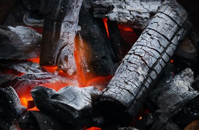 The charcoal is burning
