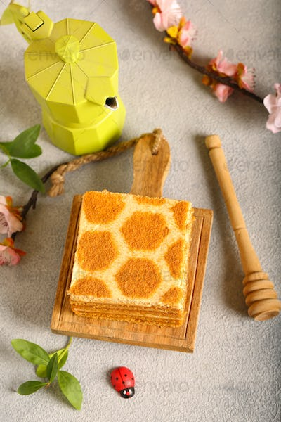 Honey Cake on a Wooden Board