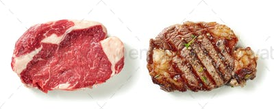 raw and grilled steak on white background