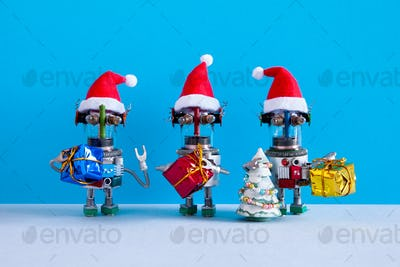 Three robots Santa Claus characers with gifts and Christmas pine tree on blue background.