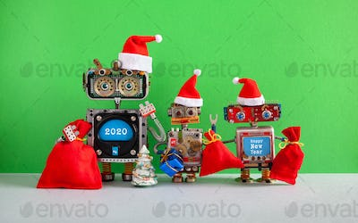 Happy 2020 New Year Merry Christmas robotic greeting card.