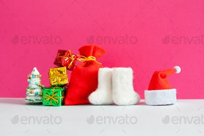 Santa Claus Christmas Happy New Year celebration background.