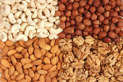 Different nuts (almons, cashews, walnuts and filbers) close up