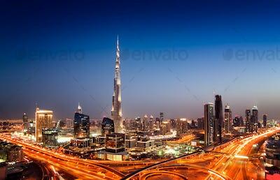 Sunset dubai downtown skyline with tallest skyscrapers, Dubai, United Arab Emirates