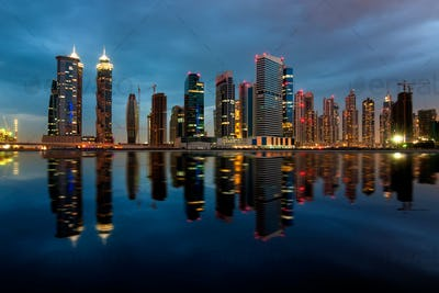 Fascinating reflection of tallest skyscrapers in Bussiness Bay d