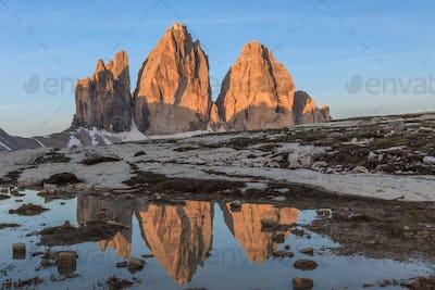Tre cime di Lavaredo at sunrise, Dolomite Alps, Italy