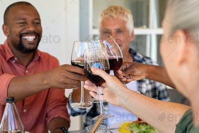 Mature friends cheering with wine glasses