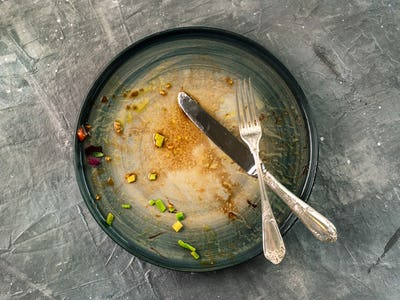 Dirty dish on gray background, top view