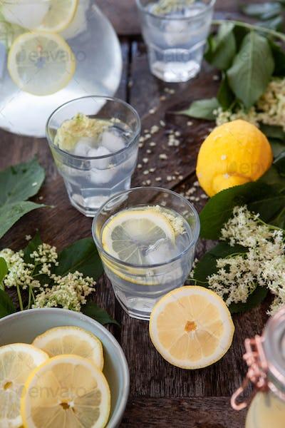 Homemade lemonade with elderflower