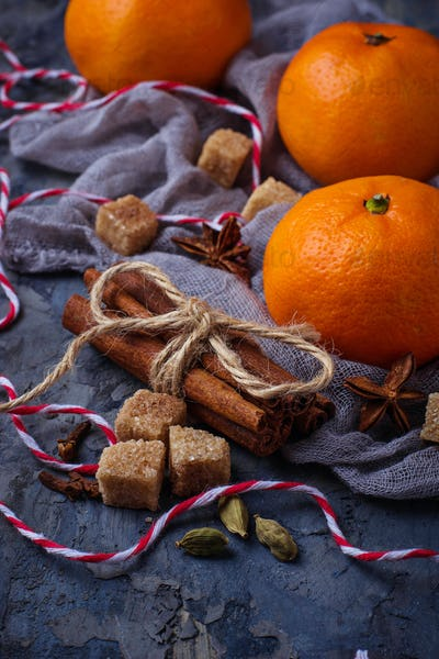 Orange tangerines and Christmas spices