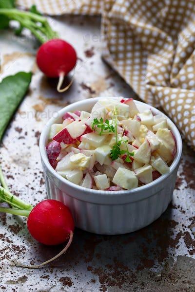 Fresh salad with radish and eggs