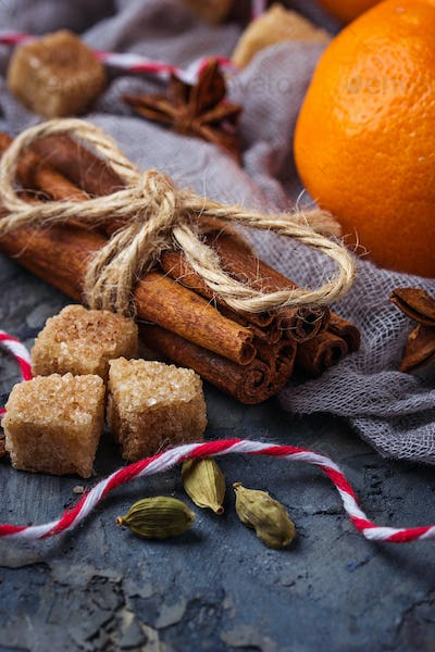 Christmas spices and orange tangerines
