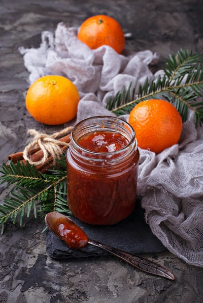 Homemade orange jam with tangerine