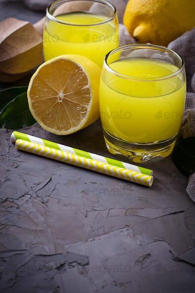 Italian liqueur limoncello with lemons
