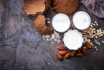 Oat, coconut and almond milk. Non-dairy vegan drink