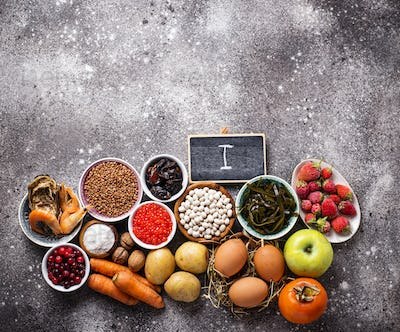 Healthy food containing iodine. Products rich in I