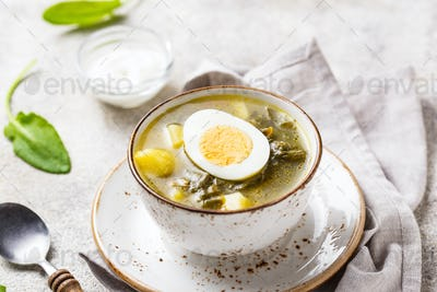 Sorrel soup or green borscht with eggs