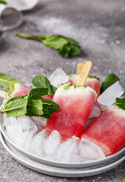 Homemade popsicles in shape of watermelon