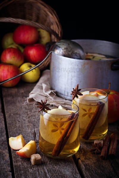Apple cider with cinnamon