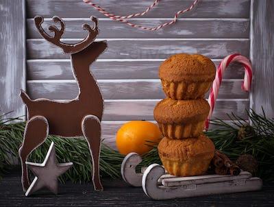 Christmas homemade cupcake in Scandinavian interior