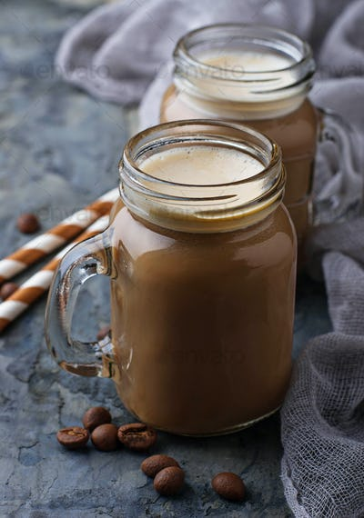 Coffee with milk in jar