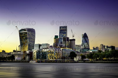 The bank district of central London, United Kingdom