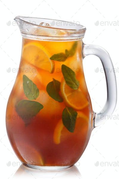 Oregano lemon iced tea pitcher, paths