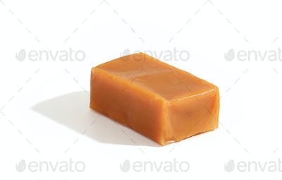caramel candy on white background