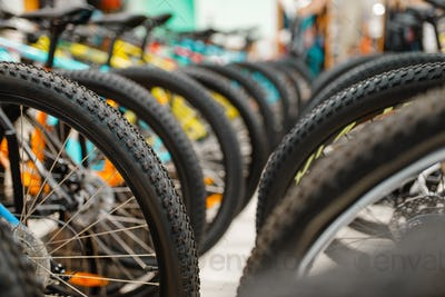 Rows of cycles in sports shop, focus on wheels