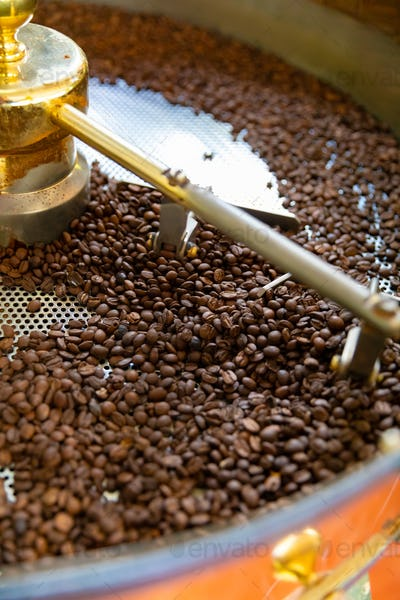 Roasting of Raw Organic Coffee Beans In Small Scale Production