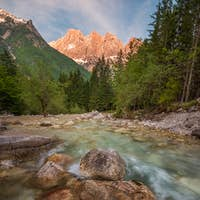 Summer day high in the mountains of Julian Alps